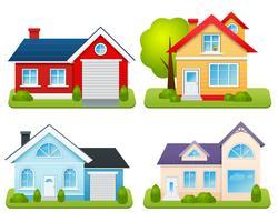 privé huizen ingesteld vector