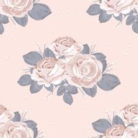 Retro bloemen naadloos patroon. Witte rozen met blauwe grijze bladeren op pastel roze achtergrond. Vector illustratie