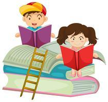 Jongen en meisje leesboek samen vector