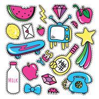 Stickerscollecties in pop-artstijl vector