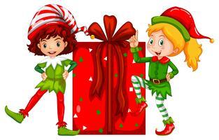 Kerstthema met elf en huidige doos vector
