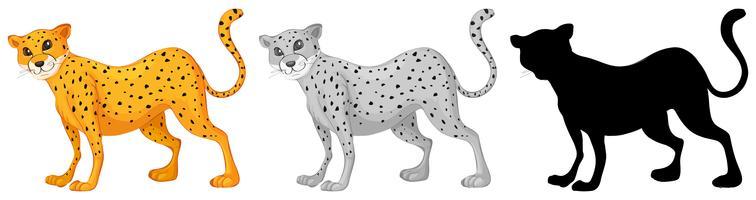 Set van tijger karakter ontwerp vector