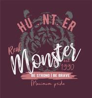 typografieslogan op de achtergrond van de tijgerillustratie vector