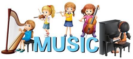 Lettertypeontwerp met meisjes die muziek spelen vector