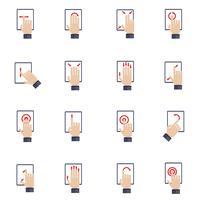 Hand aanraken van scherm plat pictogrammen
