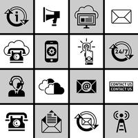 Neem contact op met ons Icons Set Black and White vector