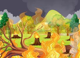 Een enge bosbranden vector