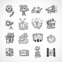 Bioscoop pictogrammen instellen vector