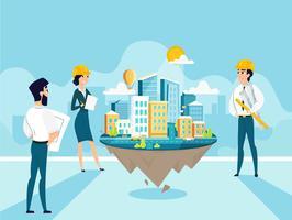 Groepsarchitecten maken en engineeren project van stad vector