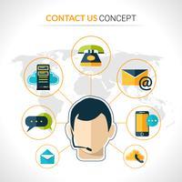 Neem contact op met ons concept poster vector