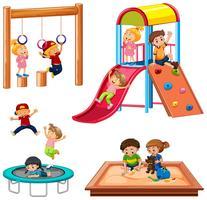 Reeks kinderen die speelplaatsapparatuur spelen