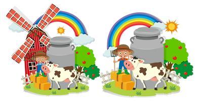 Een set melkboerderijen