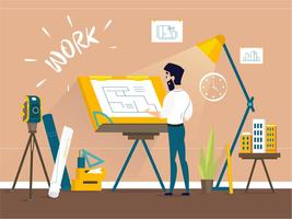 Van het de tekeningshuis van de mensenarchitect het vloerplan bij tekenaarstudio met regelbaar tekenbordbureau vector