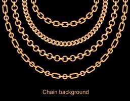 Achtergrond met kettingen gouden metalen ketting. Op zwart vector