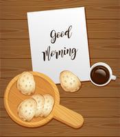 Brood en koffie voor ontbijt vector