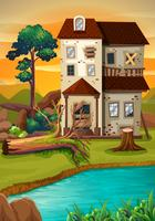 Oud huis bij de vijver
