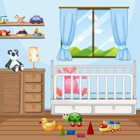 Slaapkamer scène met babybedje en veel speelgoed