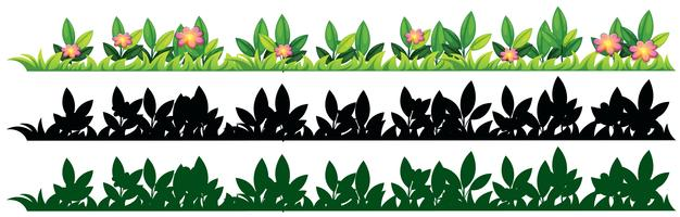 Drie patronen van gras en bloemen