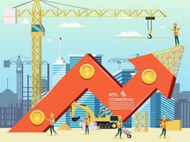 Arrow Stock Trade Grafiek van de huisvestingskosten vector