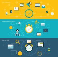 Tijd management banner set vector