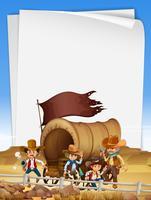 Papiersjabloon met cowboys in het veld