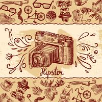 Hipster camera achtergrond vector