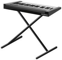 Elektronische piano op metalen standaard