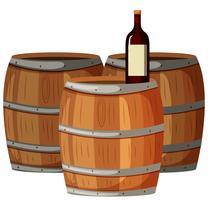 Wijnfles op houten vaten