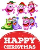 Kerstkaartsjabloon met vrolijke monsters
