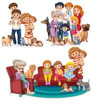 Een reeks grote families vector