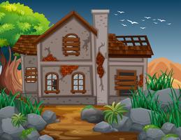 Bakstenen huis in het veld
