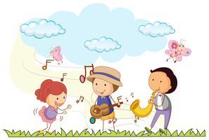 Mensen die muziek in het park spelen vector