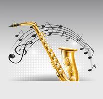 Saxofoon met muzieknota's op achtergrond