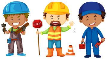 Drie mannen doen verschillende banen vector