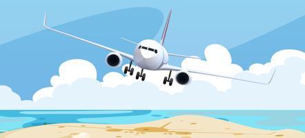 Achtergrondscène met vliegtuig het vliegen vector