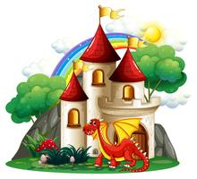 Scène met rode draak en torens vector