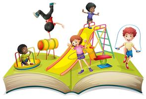 Kinderen die in speelplaats spelen