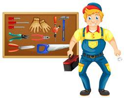 Reparateur met veel hulpmiddelen vector