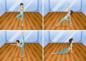 Vrouw die yoga in vier verschillende posities doet