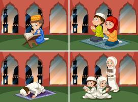 Een reeks mensen bij moskee