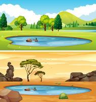 Twee scènes met de vijver vector