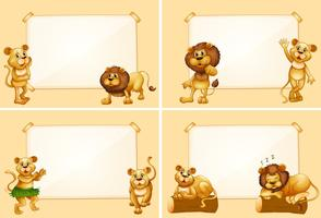Vier grenssjablonen met schattige leeuwen vector