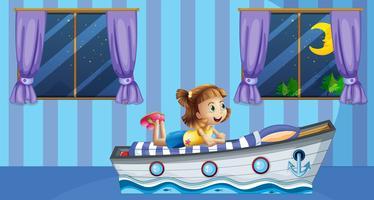 Meisjeslaap op bed in blauwe ruimte vector