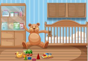 Kinderkamerinterieur en speelgoed