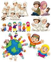 Moslimfamilies over de hele wereld vector