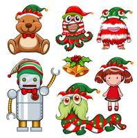 Kerstthema met speelgoed in feestmuts vector