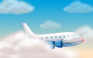 Vliegtuig die in de blauwe hemel vliegen vector