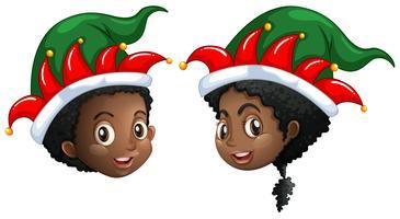 Kerstthema met kinderen in feestmuts
