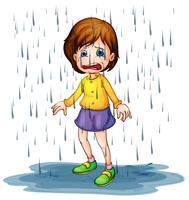 Droevig meisje dat zich in de regen bevindt vector