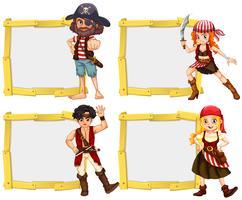 Grensmalplaatje met piratenbemanning vector
